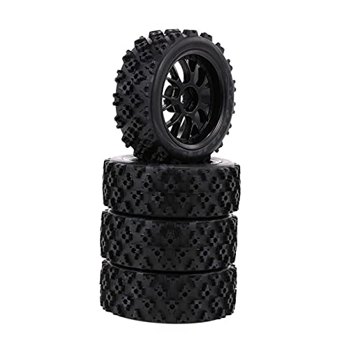 UGUTER ZLD 4 unids/Set RC Caucho Neumáticos de Caucho Estrella Flor Fetal Rueda de la Rueda de Carretera y neumáticos para 1:10 Off Race Accesorios de Coche (Color : Black)