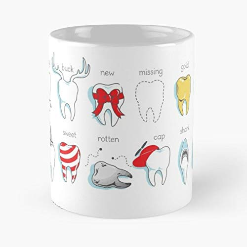 Teeth Dental Dentist Tooth Funny Cute Office Definitions Orthodontist Braces - Best 11 Ounce Ceramic Coffee Mug Gift