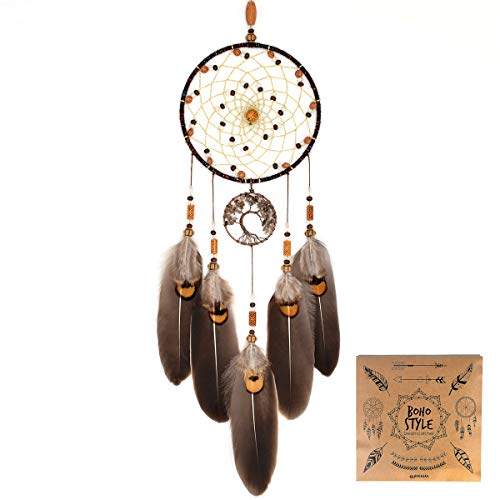 """Urdeoms Dream Catcher Handmade Tree of Life Dream Catchers with Feathers Wall Hanging Home Decor Dia 5.1""""(NO.10)"""