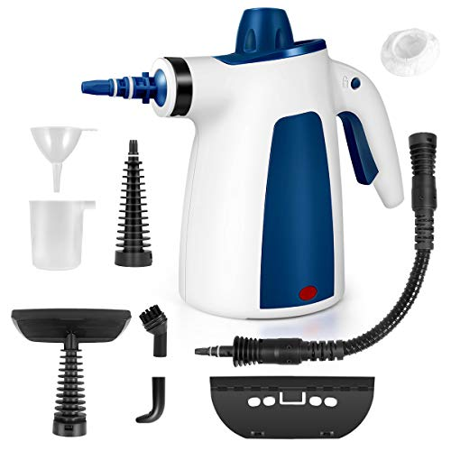 FFDDY Steam Cleaner, Portable Car Carpet Upholstery Cleaner Machine High Pressure Steamer with 9 Piece Accessories for Cleaning, Couch/Floor/Bathroom/Auto/Grout Cleaner for Home Use, Handheld Steamer