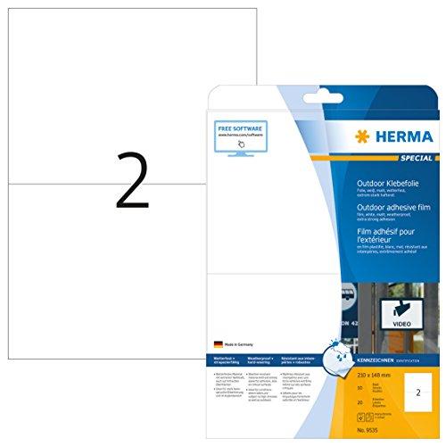 HERMA 9535 Wetterfeste Folien-Etiketten DIN A4 (210 x 148 mm, 10 Blatt, Polyethylen, matt) selbstklebend, bedruckbar, extrem stark haftende Outdoor Klebefolie, 20 Klebeetiketten, weiß