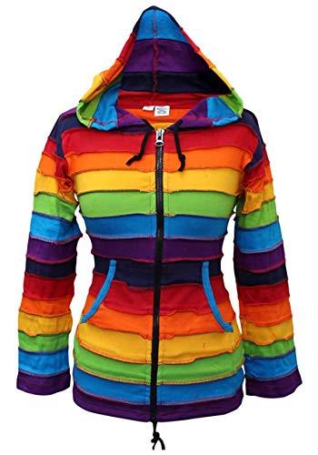 Shopoholic Fashion Lang Elf Kapuzen Regenbogen gestreift bunt jacke,Boho Hippie kapuzenpulli - Regenbogenforelle, Small