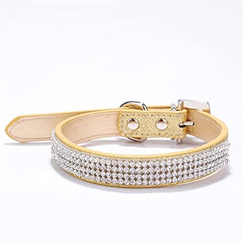RayMinsino Collar para mascotas de cuatro filas de diamantes de imitación brillantes PU collar de perro pequeño y mediano tamaño gato collar