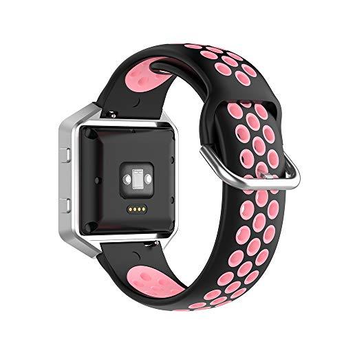 KINOEHOO Correas para relojes Compatible con Fitbit Versa/Versa 2/ Versa Lite/Blaze Pulseras de repuesto.Correas para relojesde siliCompatible cona.(Rosa negro)