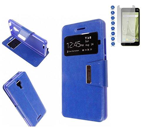 Todobarato24h Funda Libro Ventana Azul Wiko Jerry 2 (5.0) + Protector de Cristal Templado