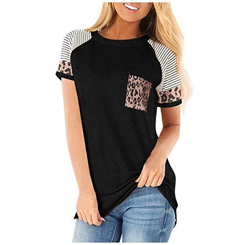 Camiseta de Cuello Redondo para Mujer, Estampado de Bolsillo con Costuras a la Moda, cómodo, versátil, Tendencia, Ropa de Calle, Jersey de Manga Corta L