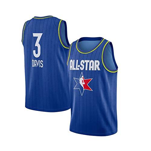 WXFO All-Star Davis Basketball Trikot 3#, atmungsaktives, schnell trocknendes, exquisites Stick-Mesh-Trikot. Unisex, perfekt für die Feier Einer Outdoor-Sportparty. (S-X Blue-S