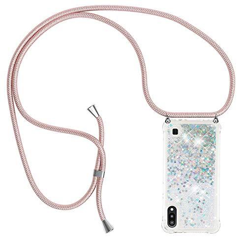 Ptny Case Funda Colgante movil con Cuerda para Colgar Samsung Galaxy A10 Carcasa Correa Transparente de TPU con Cordon para Llevar en el Cuello con Ajustable Collar Cadena Cordón en Oro Rosa