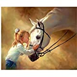5D DIY Diamond Painting Crystal Rhinestone Kits for Adults Full Round Drill Cross-Stitch Patternsfor Decor Horse and Little Girl 15.7x11.8in 1 Pack by Cenda