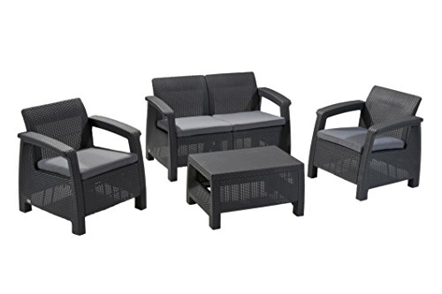 Keter Corfu 4 Piece Set All Weather Outdoor Patio Garden Furniture w/ Cushions, Charcoal - 212584