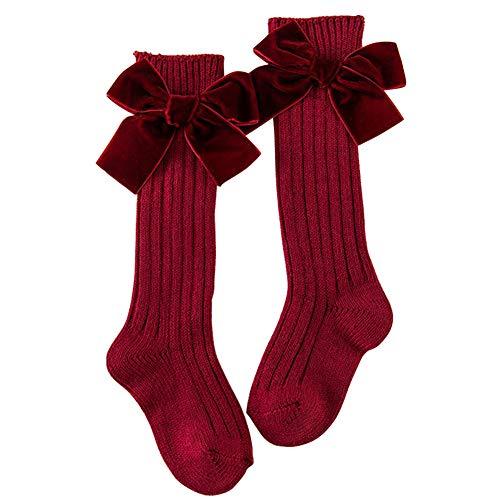 ZSooner Calcetines para bebés y niñas, transpirables, largos con lazo, regalo para el hogar, rodilla gh Medias de algodón peinado invierno para uniforme lindo mantener caliente suave (rojo vino)