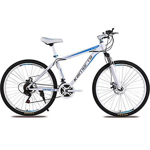 PBTRM Bike Bicicleta Montaña MTB Rígida 26 Pulgadas, Marco Acero Carbono, Desviador Trasero 27 Velocidades, Frenos Disco Traseros Delanteros,Azul