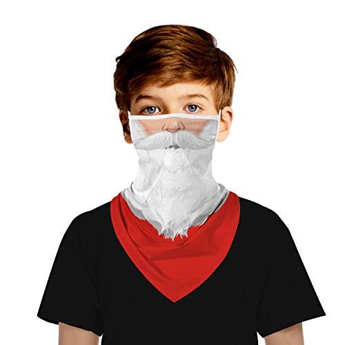 Ainuno Santa Mask for Kids Neck Gaiter Santa Claus Face Covering for Child Boys Girls Ugly Xmas Face Bandana Mask Holiday Mask Funny Scarf Wrap Tube Magic Mask Half Face with Ear Loops Printed