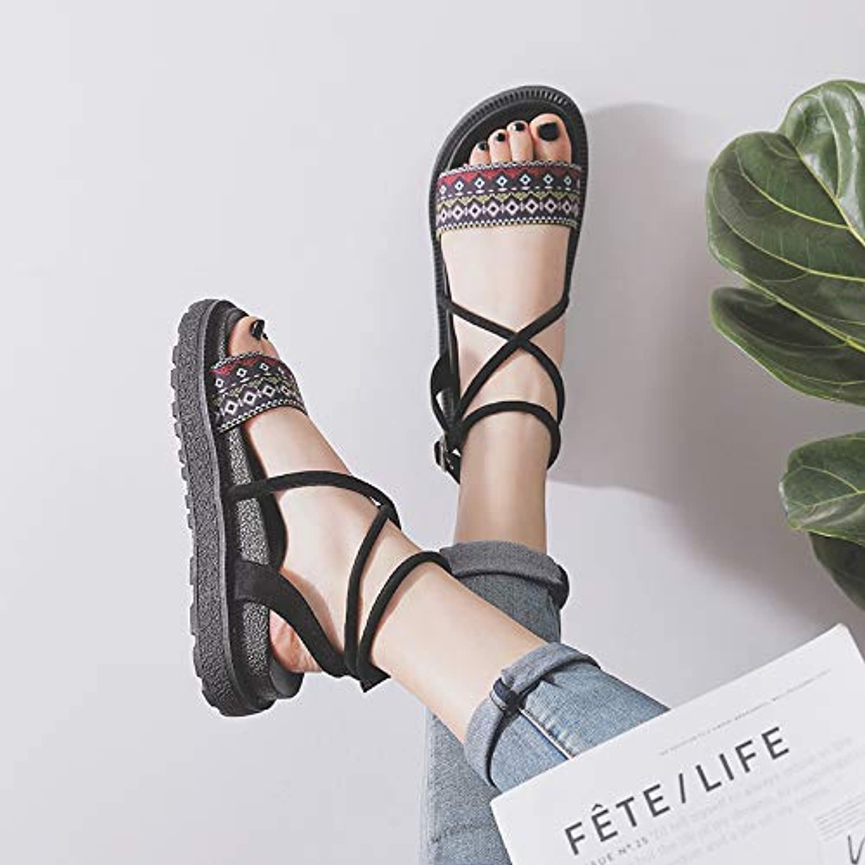 Shukun Sandalen für Damen Rmische Schuhe Sandalen Frauen Flache Schuhe Dicke Untere Strandschuhe Damenmode Rutschfeste Hausschuhe Küstenurlaub