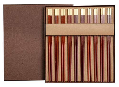 WANGQW Chopstick Reutilizable Set Lavavajillas-Caja fuert Palillos 10 Pares de Regalos de Alta Gama doméstico, Longitud 25cm Palillos