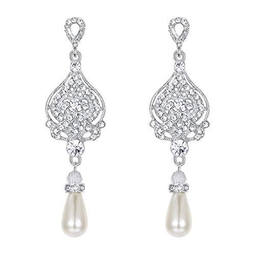 EVER FAITH Bridal Silver-Tone Vase Flower Simulated Pearl Earrings Clear Austrian Crystal