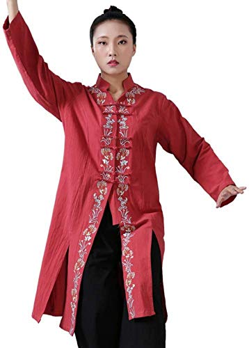Wghz Chinese Tai Chi Suit Tang Suit Men Traditional Clothing Hanfu Embroidered Sleeve Tops and Pants,Buckle,Stand Collar,Red-L