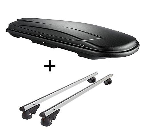 Skibox VDPJUXT500 500Ltr Boîte de Ski verrouillable Noir + Barres de Toit en Aluminium VDP004XL pour Ssang Yong Rexton à partir de 13