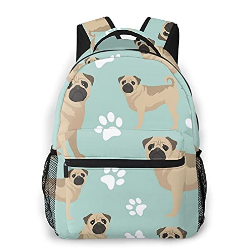 BYTKMFD Mochilas con estampado de huellas de perro para libros escolares, bolsa de transporte ligera de viaje, Negro, Talla única