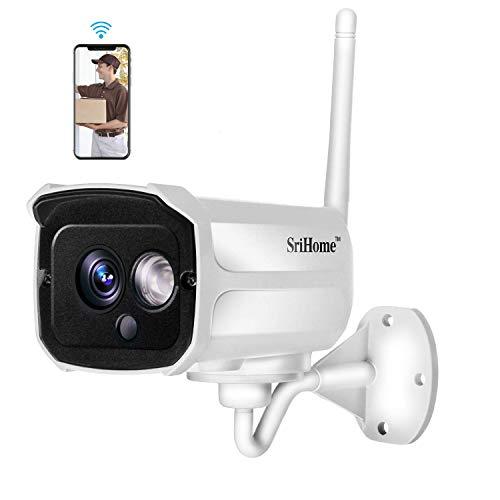 Sricam SH024 1080P Cámaras de Vigilancia WiFi Impermeabile para Exterior e Interior Cámara IP CCTV WiFi Soporte Onvif con Visión Nocturna Detección de Movimiento Compatible con iOS y Android, Blanco