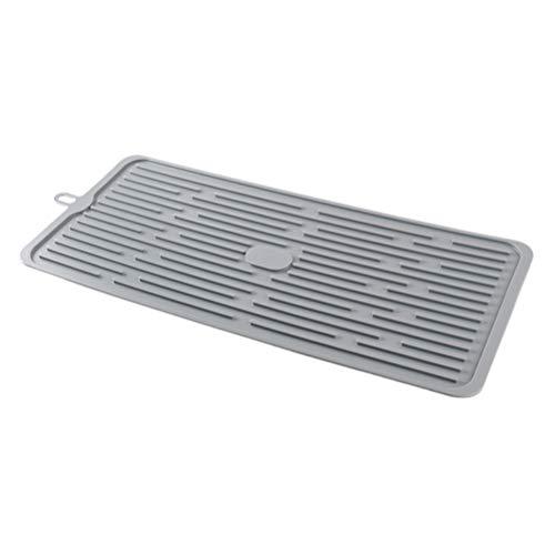 BESTonZON Siliconen onderzetter afdruipmat servies mat hittebestendig anti-slip voor potten pannen servies (donkergrijs)