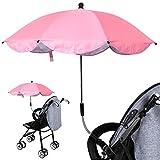 ベビーカー傘 パラソル UV保護 360°調整可能 折り畳み 傘立て付き 傘固定 取り外し可能 ベビーカー自転車用 日焼け止 紫外線対策 UVカット 通気性 熱中症対策 お出かけ 赤ちゃん用品