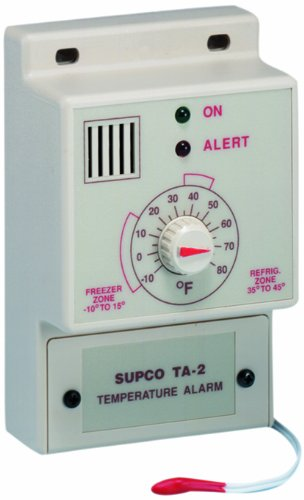 Supco TA2 Single Set Point Temperature Alarm, -10 to 80 Degrees F, 120 VAC