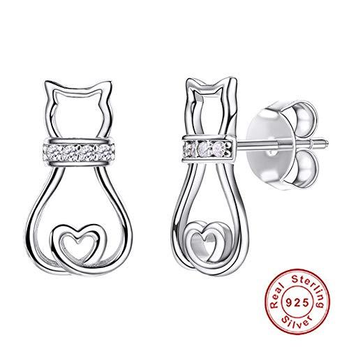 Ohrringe Ohrstecker Damen Ohrschmuck 925 Silber Zirkonia Katzen Schmuck Ohrringe für Damen Mädchen