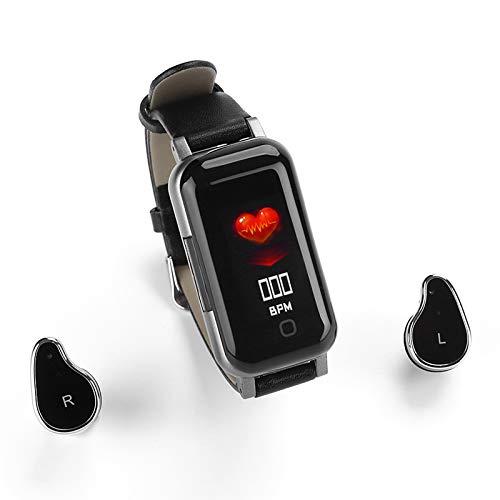 Pulsera de reloj inteligente y auriculares inalámbricos Bluetooth 2 en 1, pulsera inteligente con carga magnética invisible, monitor de presión arterial, monitor de actividad física (negro)