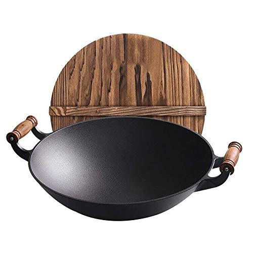 CYQ Wok, Wok en Fonte Wok Peu Profond et concave, Fond Rond, Couvercle de Pot en Bois, Multi-Usage, 40 cm