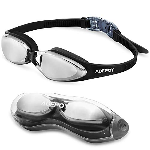 adepoy Swim Goggles, Anti Fog No Leaking Swimming Goggles with Free Protection Case for Men Women Adult Youth Kids (Over 6 Years Old) - Mirrored/Clear Lens UV Protection (Silver Black)