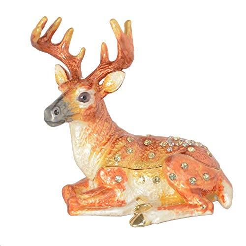MRHUI - Estatua de escultura, diseño moderno de ciervo, joyero de cristal, regalo de cumpleaños, escultura para ornamento artístico, decoración del hogar, sala de estar, oficina, escritorio