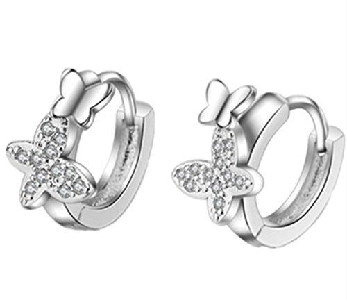 Summens Ohrringe Damen Mädchen 925 Sterling Silber Ohrstecker Zircon Schmetterling Creolen aus echte 925 Sterling Silber für Party Schmuck
