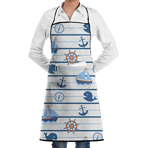 N\A Novedad Delantal de Chef de Cocina con brújula de Ancla de Ballena y Barco con Bolsillos Grandes - Delantal de Chef para cocinar, Hornear, Hacer Manualidades, jardinería y Barbacoa