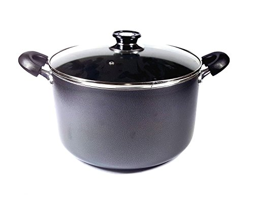 Uniware Non-Stick Aluminum Stock Pot with Glass Lid,Black (16 QT)