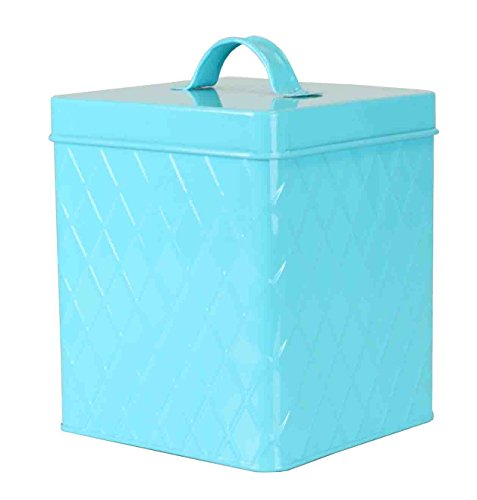 Home Basics Tin Kitchen Food Storage Organization Canister Collection (Large Canister with Cover, Turquoise)