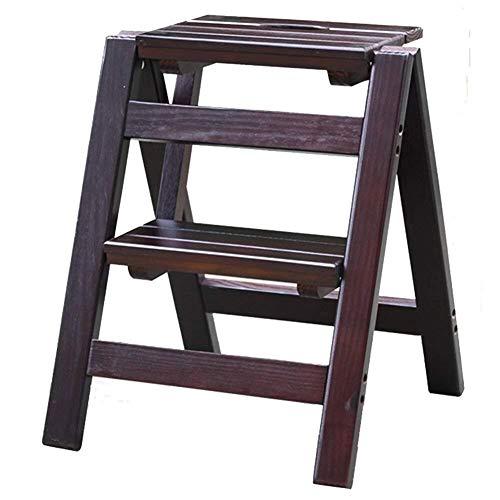 DNSJB - Escalera plegable de dos pisos de madera maciza, escalera de balcón, para el hogar, banco de zapatos de doble uso portátil, soporte de flores (color: color nogal profundo)