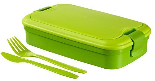Curver - Bento Recipiente para Alimentos Lunch & Go 1.4 L - Con Cubiertos - 2 Compartimentos + Separador Interno - Color Verde Lima