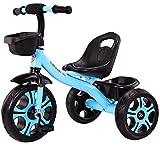 Niños Triciclo Bicicleta, Carrito para Niños de 1-2-3-5 Años, Juguete para Montar y Deslizar con Cesta para Manillar y Cesta Trasera,Azul