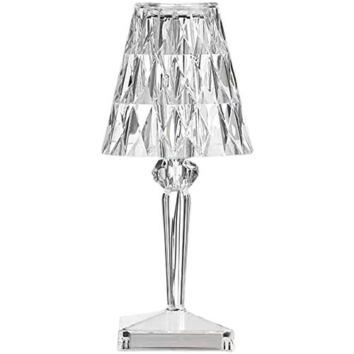 Youyun lampada da tavolo Ricaricabile con cristallo a forma di diamante, con luce LED touch USB, decorazione per camera da letto, soggiorno, camera degli ospiti, comò