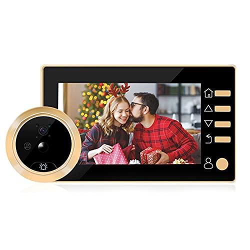 DNAMAZ Portero Video Peephole Doorbell Viewer 4.3 Pulgadas Puerta Cámara LCD Digital Digital Visor de Puerta Visión Noche Detección de Movimiento automatico (Color : Gold)