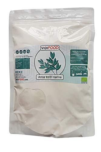 Harina de Arroz ECO - 1kg - Arroz Orgánico molido - Puro arroz blanco para hornear y cocinar - Harina almidonosa sin gluten