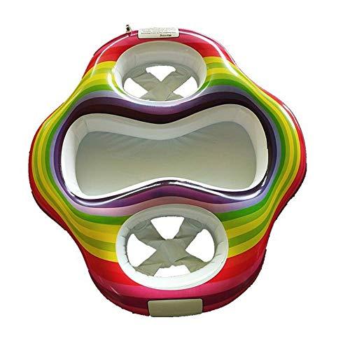 FHUILI Anillo de la Nadada Madre Piscina de Verano - Inflable del Arco Iris Gemelo del bebé de la Piscina del Flotador de los niños Doble Asientos Material de PVC Madre y del bebé balsa del Flotador