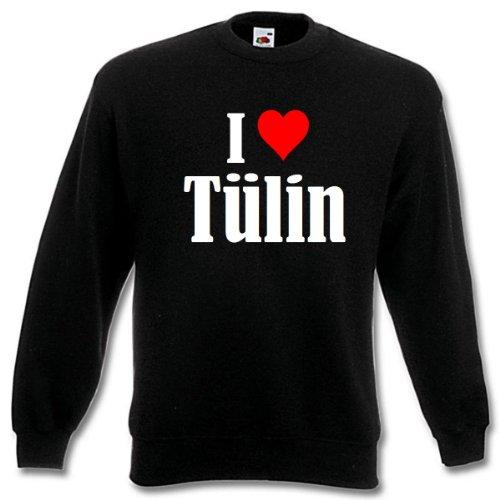 Reifen-Markt Sudadera I Love Tülin para mujer, hombre y niños en los colores negro, blanco y azul con estampado Negro 164 cm