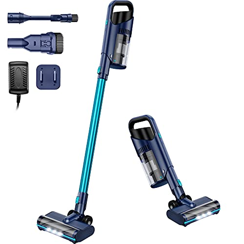 Cordless Vacuum Cleaner, 6 in 1 Stick Bagless Vacuum Up to 40 min Runtime, 160W Powerful Suction Upright Vacuum, Lightweight Portable Quiet Handheld Vac for Home Carpet Pet Hair Hard Floor Car