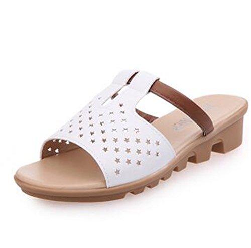 Boowhol Femme Sandales Chaussures été Perméable à l'air Pantoufles Flip-flops Tongs (Blanc, 39 EU)