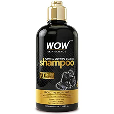 WOW Activated Charcoal & Keratin Shampoo - Full Scalp Detox Cleanse - Restore Dry, Damaged Strands For Soft, Smooth, Shiny Hair- Sulfate & Paraben Free - All Hair Types, Adults & Children - 500 mL
