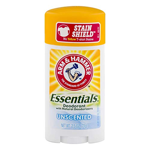 Arm & Hammer Essentials Natural Deodorant, Unscented 2.5 oz (Pack of 5)