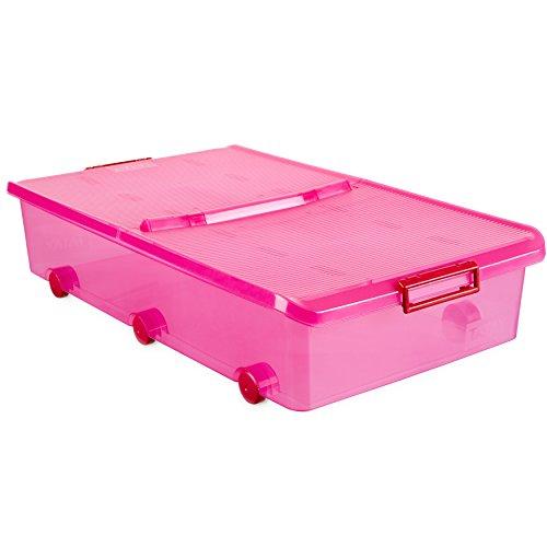 Tatay 1151112 Caja de Almacenamiento Multiusos bajo Cama con Tapa y Ruedas 63 l de Capacidad plástico Polipropileno Libre de bpa, Fucsia, 45 x 78 x 18 cm