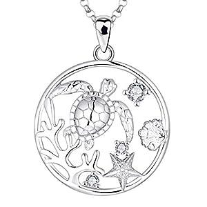 JO WISDOM Damen Kette Silber 925,Halskette Anhänger Schildkröte Koralle Muschel Seestern mit 3A Zirkonia Ozean Schmuck